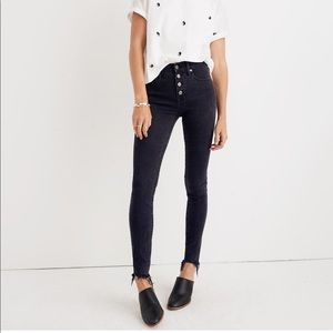 NWT Madewell Skinny Jeans 32 Black Ankle 9 button